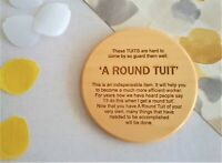 A Round Tuit Lime Wooden Coaster, Handmade Novelty Gift for Christmas