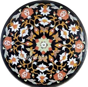 16 Inches Marble Table Top Semi Precious Gemstones Inlaid Coffee Table for Home