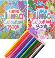 KIDS A4 Super Jumbo Activity Colouring Book Books Pencils OVER 135 PAGES