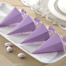 50 elegante LILLA matrimonio festa di fidanzamento regalo scatole di favore piramide cono
