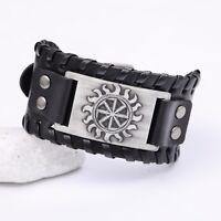 Vintage Wicca Nordic Slavic Solar Symbol Sun Wheel Amulet Cuff Talisman Bracelet