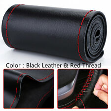 Universal Black&red Genuine Leather Car Steering Wheel Cover Case Needles&Thread