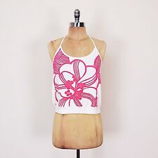 $78 French Connection Pink Floral Print Crop Halter Cami Tank Top Shirt Blouse M