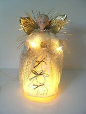"Vtg Angel Guardian Dear Cloth Christmas Tree Topper Lights Porcelain Head 12""H"