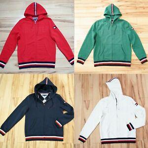 NWT Tommy Hilfiger Mens Sweatshirt Full Zip Hoodie Jacket Hooded Flag Logo