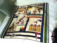 Echo Huge Yacht Club Silk Scarf w Sail Boats Flags & Cabana Colorful!