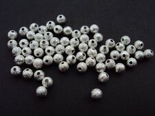 100 Silver Plated Stardust Brass Metal Spacer Beads Round 4mm