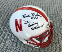 NEBRASKA CORNHUSKER FOOTBALL PAUL MILES #21 SIGNED MINI HELMET SCORING EXPLOSION