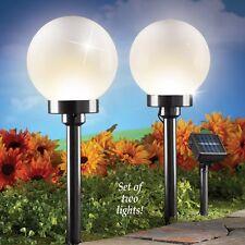 Set of 2 Solar Pow 00004000 ered Lighted Gazing Globe Outdoor Garden Path Lights