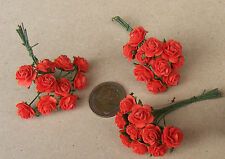 1:12 Scale 3 Bunches (30 Flowers) Of Red Paper Roses Tumdee Dolls House C