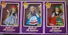 LOT OF 3 VINTAGE DOLLS OF ALL NATIONS FISHEL BOOKSHELF COLLECTABLES MINT!! NRFB