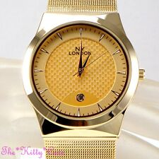 Designer Classic Chainmail Mesh Stainless Steel Gold Date Display Unisex Watch