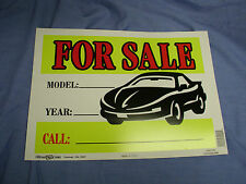 "Car For Sale Signs Year/Model/Phone #  Plastic Sign 10"" x 14"" U.S.A. (LOT OF  2)"