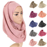 Islamic Women Long Hijab Scarf Muslim Arab Wrap Shawl Head Sequin Scarves Amira