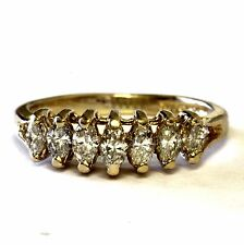 14k yellow gold .45ct marquise SI1 diamond anniversary ring womens vintage 2.6g