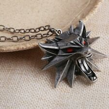 NEW The Witcher 3 Wild Hunt RED EYES Medallion/Necklace+BlackPouch+Card
