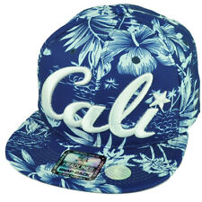 Cali California All Over Hawaiian Floral Hat Cap Nylon Snapback Blue White Palms