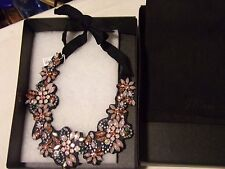 NWT J.Crew Fabric-Backed Crystal Cluster Necklace AUTHENTIC With J CREW Box &Bag