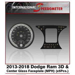 2013 - 2018 Dodge Ram 3D Speedometer & Center Glass Faceplate MPH (x5Pcs.)