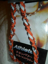 "18"" Titanium Ionic Tornado Sports Baseball Necklace 3 rope Braid ORANGE WHITE"