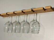 Wine Glass Holder Rack Wall Mounted Wood 6 Glasses Wine Display Wall Decor