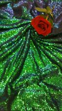 Peacock Green Sequin Fabric, by The Yard, Sequin Iridescent Sequin Mermaid