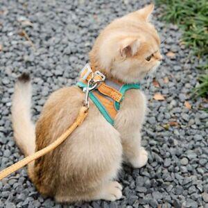 Cat Walking Jacket Harness and Leash Escape Proof Pet Adjustable Soft Mesh Vest