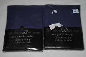 "Job Lot Bundle 2 Pairs Curtains 46 x 90"" Cotton Unlined Tap Top Tie Backs Navy"
