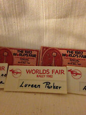 COLLECTABLE - WORLDS FAIR 1982 TICKET STUBS-WORLDS FAIR RALLY 1982