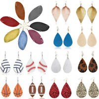 Boho Feather Teardrop Shape Genuine Leather Earrings Women Dangle Drop Jewelry