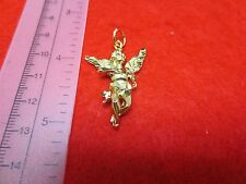 14 KT GOLD PLATED ALMOST 1 1/2 INCH LARGE ANGEL CHARM PENDANT