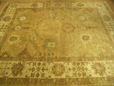10 x 14 Handmade Hand Knotted Oushak Rug _Veggie Dyes Hand Spun Soft Silky Wool