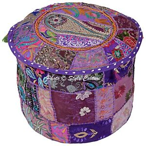 Ethnic Pouffe Cover Ottoman Purple Cotton Patchwork Embroidered Round 18 Inch