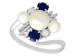 1970s Pearl Sapphire Diamond 18k White Gold Twist Ring Size O