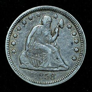 1858-P SEATED LIBERTY QUARTER ✪ XF EXTRA FINE ✪ 25C SILVER L@@K Z86 ◢TRUSTED◣