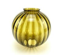 """Amber Glass Round Ribbed Ball Lamp Shade Hanging Light GWTW Globe 3.5"""" Fitter"""