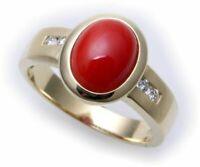 Damen Ring echt Gold 585 echt Koralle Brillant 0,08ct Gelbgold Diamant