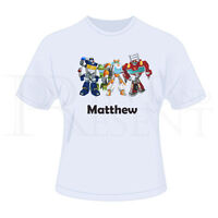 Personalised Childrens Boys Transformers Rescue Bots T-Shirt (White)