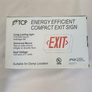 = TCP Energy Efficient Compact Exit Sign Red LED 22742 AC Only Universal Mount