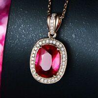 Luxus 925 Silber Halskette Rose Gold Rubin Edelstein Anhänger Damen Schmuck NEU.