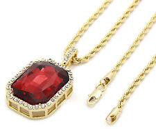 "Mens 14k Gold Plated Iced Out Red Cz Octagon Pendant Hip-Hop 24"" Rope Chain M3"