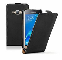BLACK Leather Flip Case Cover Pouch For Samsung Galaxy J1 2015 (+2 FILMS)