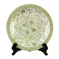 """Beautiful White and Green Porcelain Tapestry Chinese Plate 16"""" Diameter"""