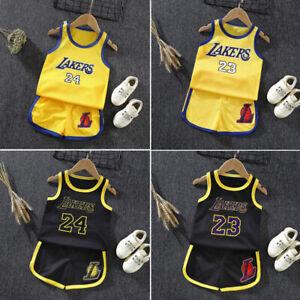 Basketball Jerseys Kids Baby Boys Girls Children Sports Outfits Tops+Pants