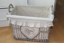 CLAYRE & EEF, Henkelkorb, Korb mit Stoffeinsatz * HOME * Shabby beige, 36 cm