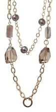 £115 Boho Minimalist Gold Brown Mother Of Pearl Glass Long Chain Link Necklace