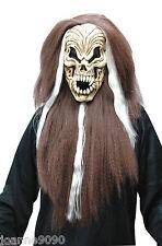 SKULL BROWN HAIR FANCY DRESS MASK HORROR RUBBER SKELETON HALLOWEEN ACCESSORY
