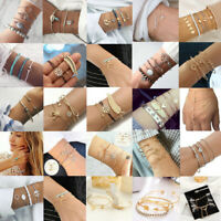 Fashion Women Rope Natural Stone Crystal Chain Alloy Bracelets Jewelry Set Gift