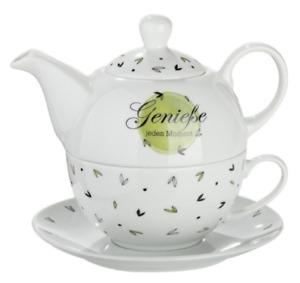 "GILDE Tea for one ""Genieße jeden Moment"" Teekanne (400ml) / Tasse(300ml) - 49759"