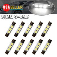 10x White 31mm 5050 3SMD LED Sun Visor Vanity Mirror Light Light Interior Bulbs